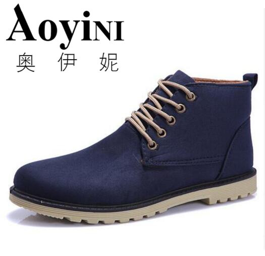 aa5093fe0407e Hot Sale fashion men boots brown male shoes casual cowboy mens ankle boots  suede leather warm shoes lace up boot