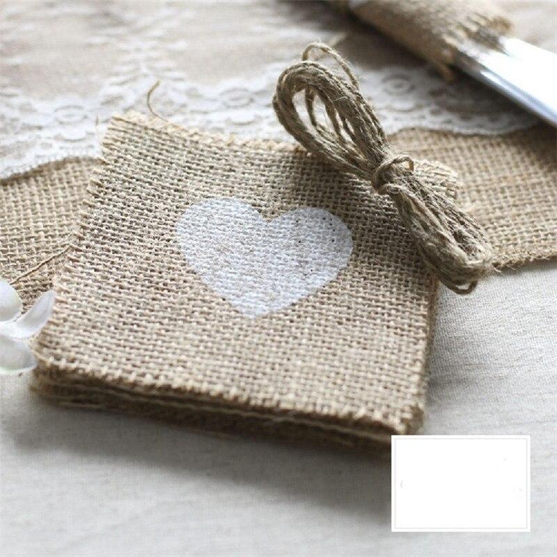 100pcslot Jute Cup Mat Table Placemat Coaster Rustic Wedding Centerpiece Wedding Cutlery Pocket Burlap Wedding Decoration (4)