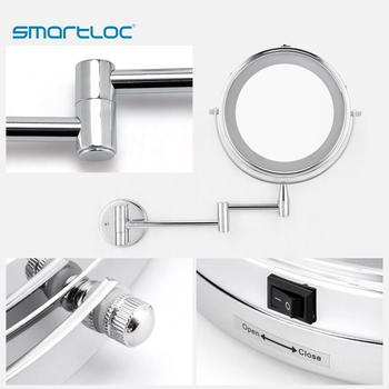smartloc Extendable LED 8 inch 5X Magnifying Bathroom Wall Mounted Mirror Mural Light Vanity Makeup Bath Cosmetic Smart Mirrors 5