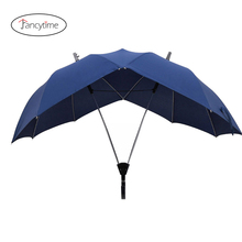 Fancytime Two pole Couple Rain Umbrella for Men&Women Semi automatic high end Womens Umbrella Double Top Conjoined Men Umbrella