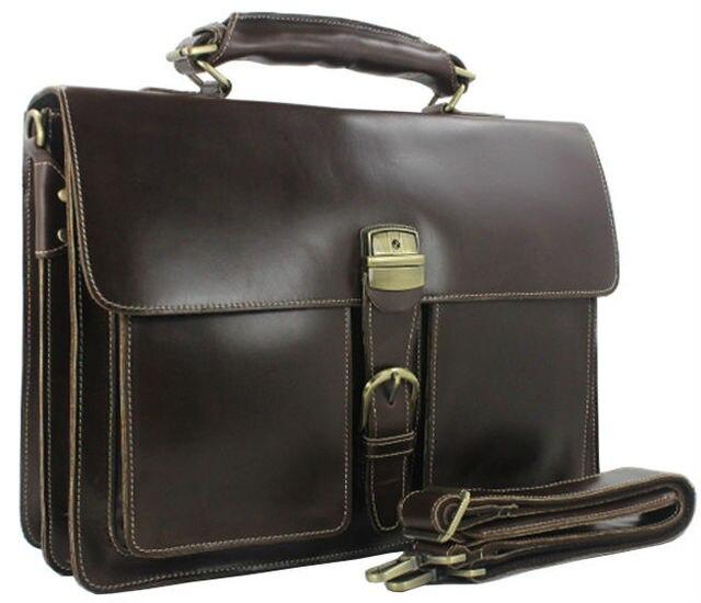 494a8d0d68 Luxury Genuine Leather Men Briefcase Leather Briefcase Men laptop Bag 15 6  Brief case Big Business Bag male Office Bag Work Bag
