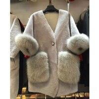 Арлин Саин Пользовательские женщина овечья шерсть пальто с мехом мериноса меховые женские длинные волосы лисы пальто с мехом Бесплатная до
