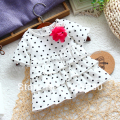 new 2014 summer baby Clothing female child t-shirt top baby cake t-shirt polka dot short sleeves kids t-shirts