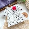 new 2014 summer baby Clothing female child t-shirt top baby cake t-shirt polka dot short sleeves kids t-shirts