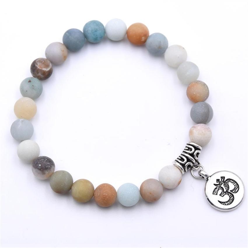Natural Stone Strand Bracelet Yoga Chakra Mala Bracelet OM Lotus Women Men Beaded Charm Bracelet Jewelry Pulseras dropshipping - Окраска металла: ZT110-16