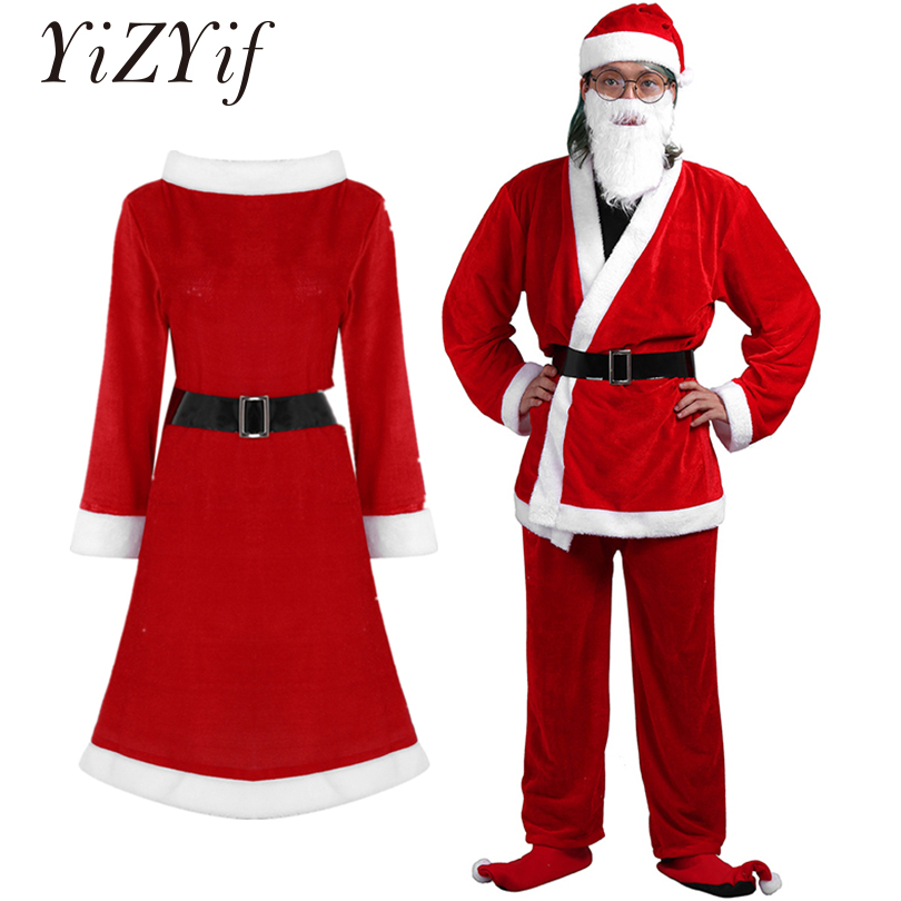 YiZYiF Adult Christmas Costumes Santa Cosplay Soft Velvet Santa Costume Xmas Suit with Belt Hat and Beard Santa Claus Clothes