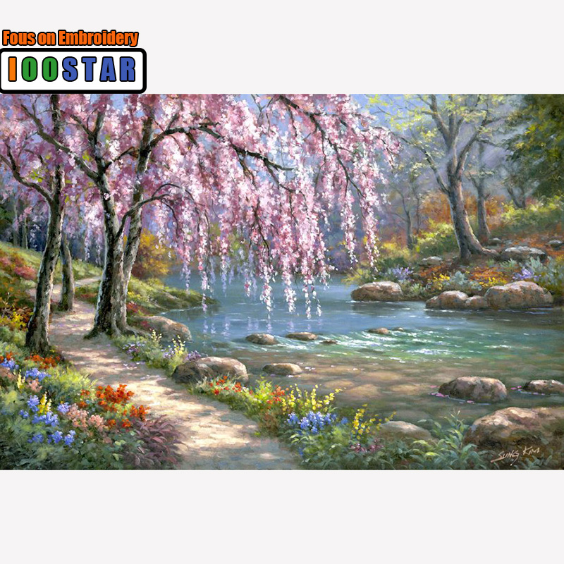 5D DIY Diamond Painting River Crystal Diamond Painting Cross Stitch Needlework Beautiful Weeping Willow Home Decorative