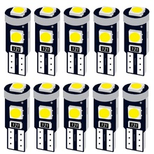 10 шт. T5 W1.2W 27 74 86 206 супер яркий 3 SMD 3030 светодиодный светильник для салона автомобиля Авто боковой Клин приборная панель Калибр инструмент лампа
