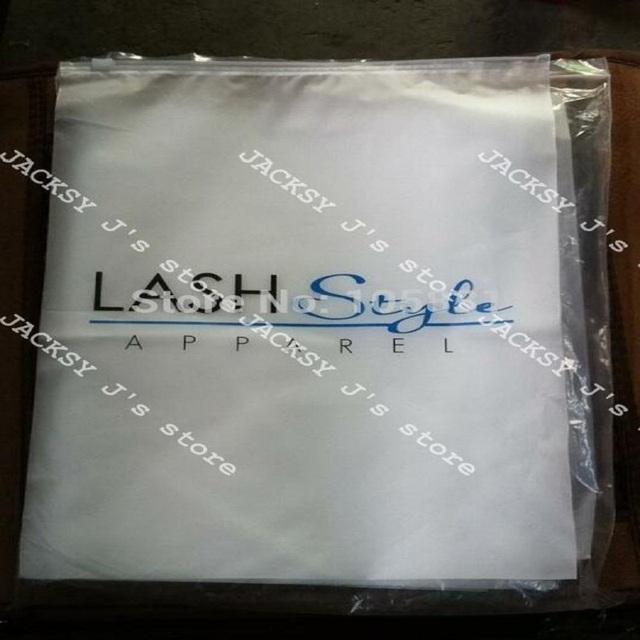 100x Custom Logo Printed White Block Slider Seal Zip Lock Plastic Bags Clear Front Frosted Back