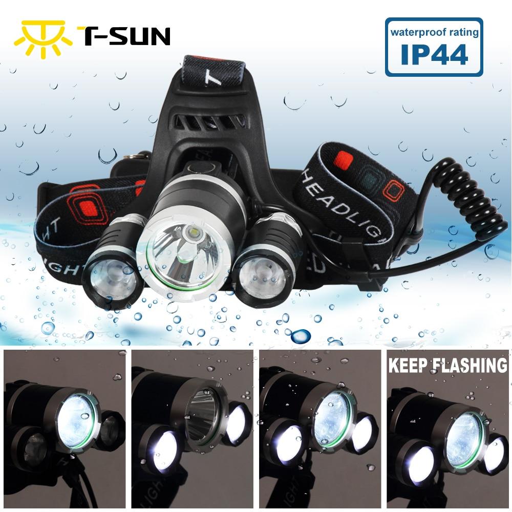 T-SUNRISE LED Cree T6 + 2 XPE Latarka Czołówka Light Latarka Akumulator 4 tryby Wodoodporna IP44 Reflektor + ładowarka AC
