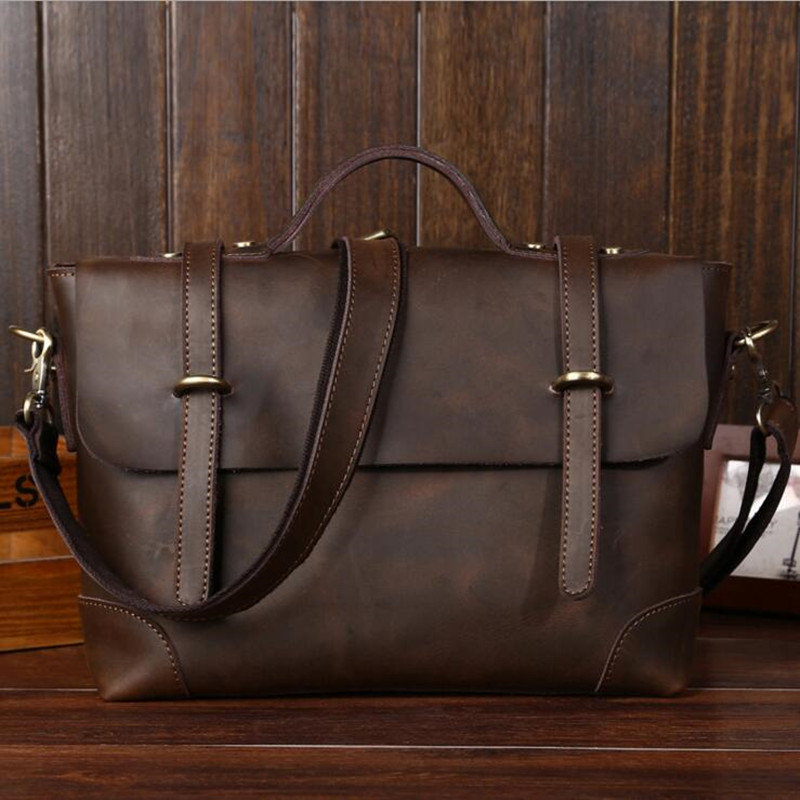 High Quality Vintage Laptop Briefcase Crazy Horse Real Genuine Leather Men Business Bag Mens New Fashion Tote Bag Messenger Bag vintage genuine leather men briefcase bag business men s laptop notebook high quality crazy horse leather handbag shoulder bags