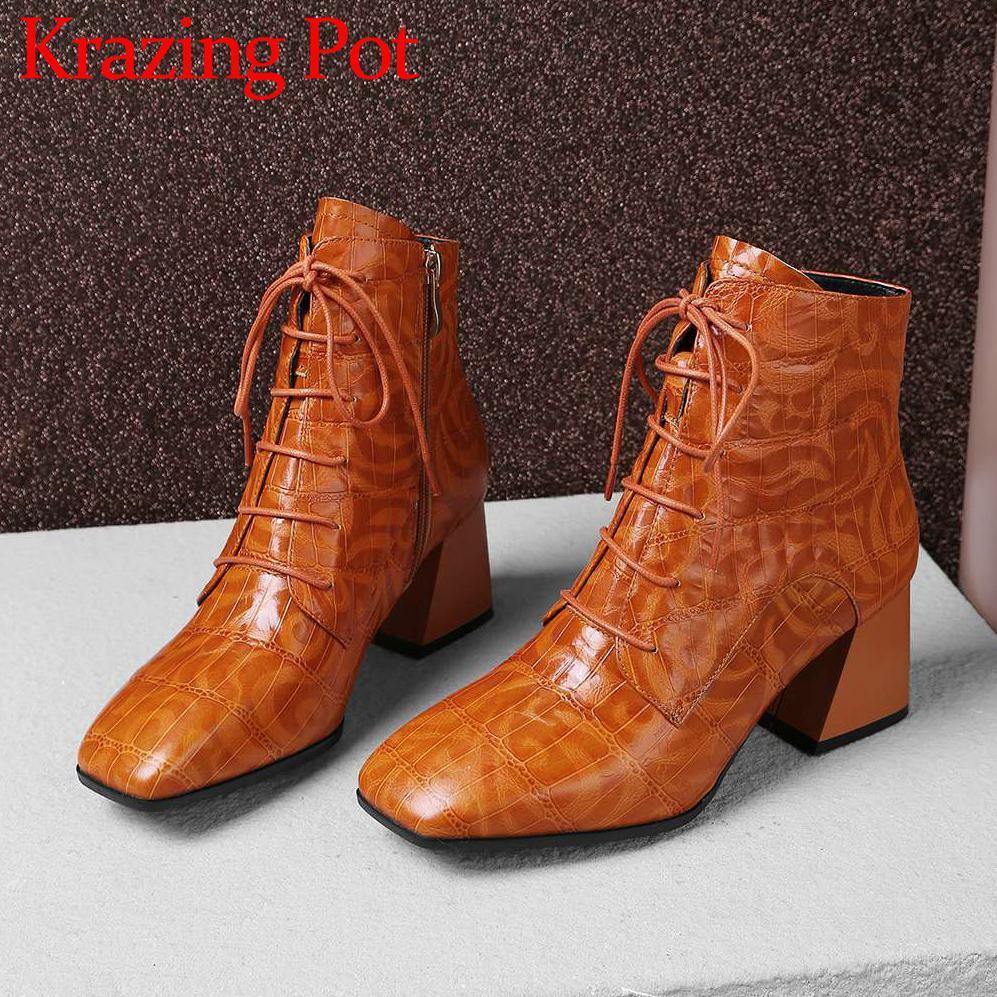 2018 di vendita calda retro quadrato di disegno punta di stile britannico più il formato genuino in pelle con cerniera di spessore tacchi alti di lusso caviglia stivali l06