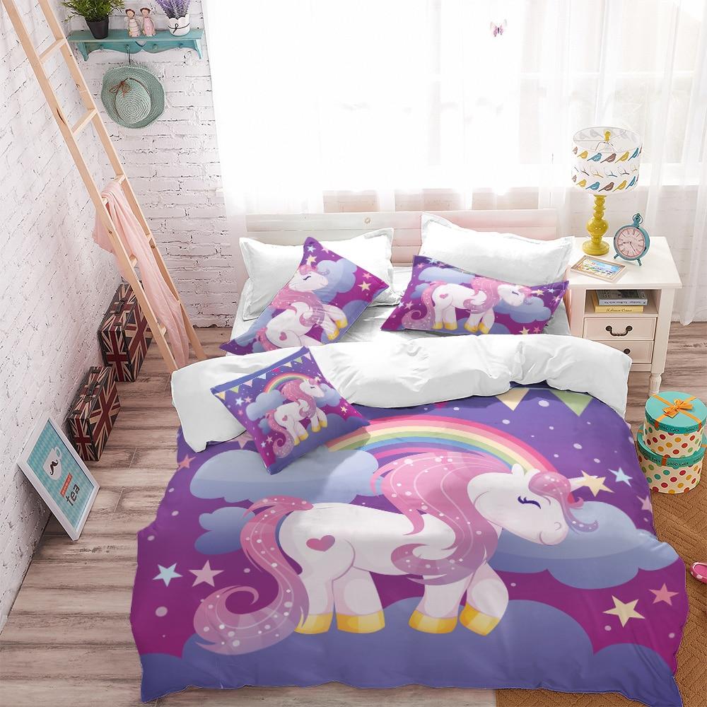 Luxury Princess Bedding Set Cartoon Unicorn Duvet Cover Colorful bedclothes Bedding Cover Pillowcase Home Decor ropa de cama D49 in Bedding Sets from Home Garden