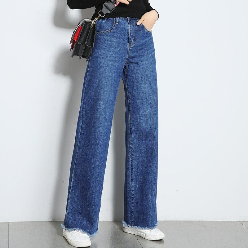 Mujeres 2018 Primavera Jeans Anchos Legtrousers Verano Ocasionales Calidad Mujer De Pant Alta Nine long Cintura Flojos Denim Pant Pantalones HqdAq