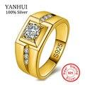 ЯНЬХУЭЙ Новая Мода Мужчины Серебряное Кольцо Настоящее Стерлингового Серебра 925 Позолоченные кольца CZ Бриллиантовое Обручальное Обручальные Кольца Для Мужчин RJ050