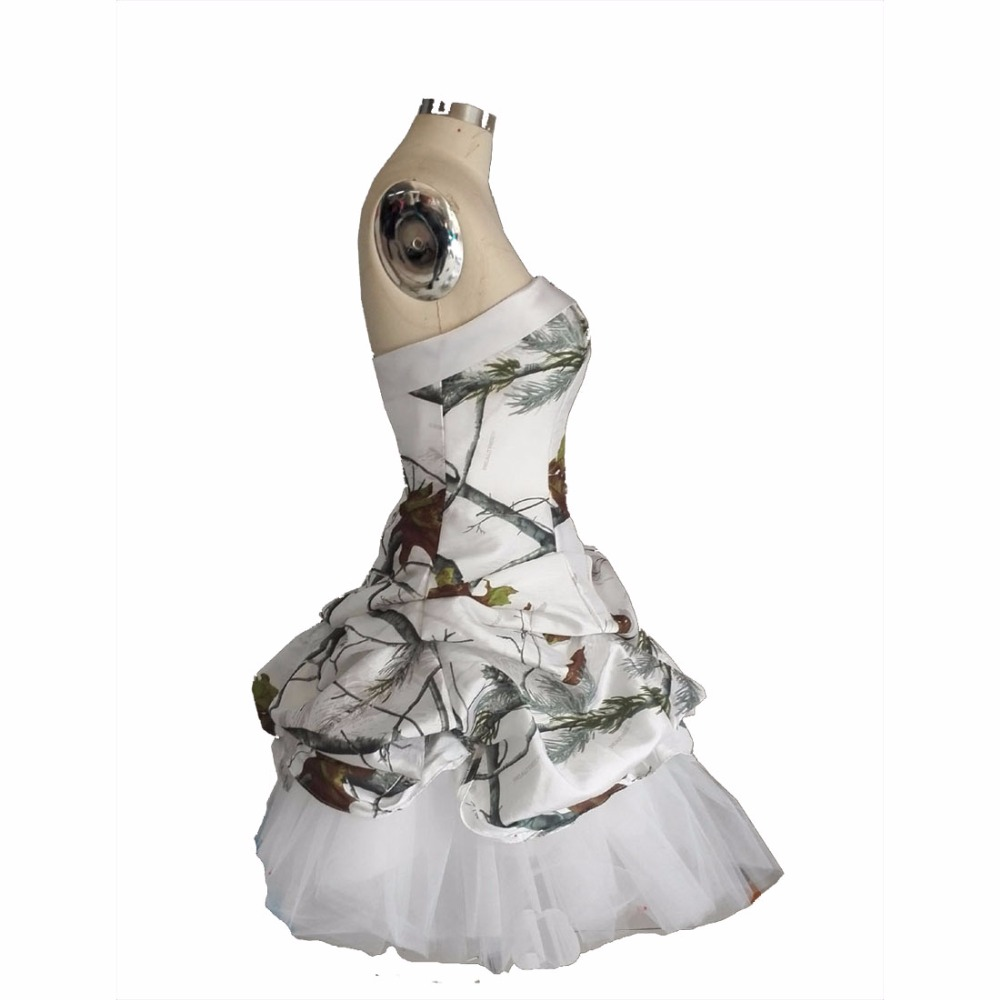 realtree white camo short cocktail party dresses 2019 vestido de festa  camouflage wedding party dress-in Cocktail Dresses from Weddings   Events  on ... db71d427ae49
