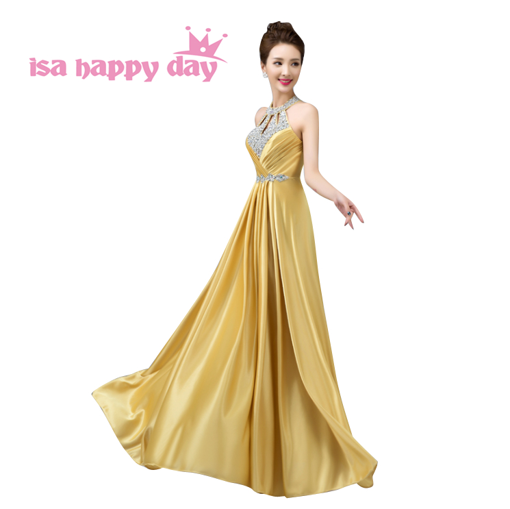 woman halter gold party women evening floor elegant party dinner sexy dress female hot sale long