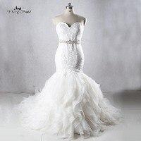 2016 Elegant Sweetheart Beaded Organza Chapel Mermaid Wedding Dress Wedding Gown Custom Made Vestido De Noiva