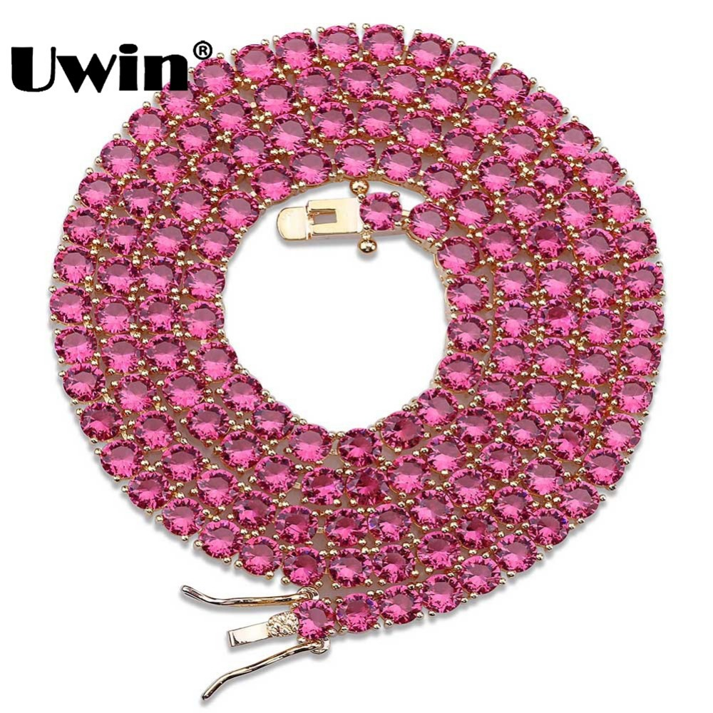 Uwin Round Cut Colored Red&Blue Stones Cubic Zirconia 4mm Tennis Necklace For Men And Women Fashion Link Chain Jewelry fashion blue twill jacquard red tie for men
