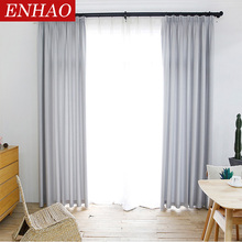 ENHAO Solid Linen Blackout Curtains for Living Room Bedroom Kitchen Curtains for Window Curtains Treatment Blinds Drapes Decor 2 pcs blackout curtains kid s room drapes for bedroom for window treatment blinds curtains for living room the bedroom blinds