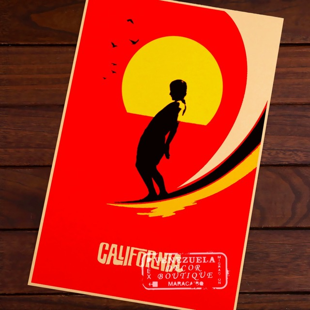 US California Surf Sports Red Travel Landscape Vintage Retro Poster