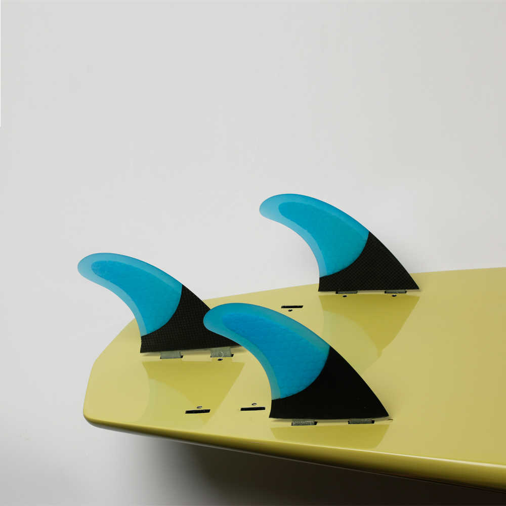 Papan Selancar Thruster Insurfin tri fin Set (3) Kompatibel Karbon FCS Surfing Sirip Biru Besar
