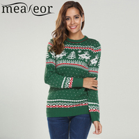 Meaneor Women Christmas Jesus Casual Long Sleeve O Neck Print Slim Pullover Sweaters