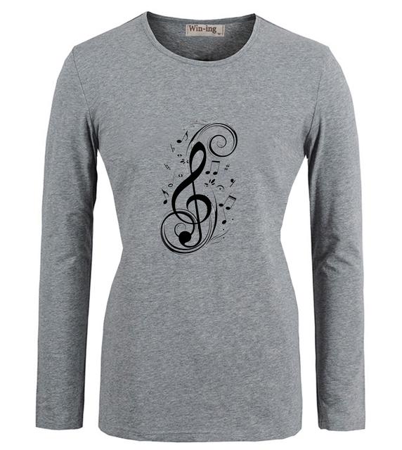Legal Nota Musical Clave de sol Art Pattern Casual T camisas de Algodão Mulheres Menina Mangas Compridas T-shirt Gráfico Tee Tops