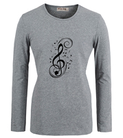 Cool Treble Clef Musical Note Art Pattern Casual Cotton T Shirts Women Girl Long Sleeves Graphic