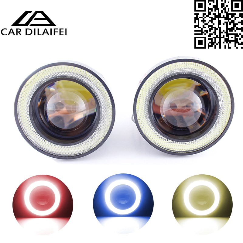 1pcs Waterproof Projector LED Fog Light With Lens Halo Angel Eyes Rings COB 30W Xenon White Blue 12V SUV ATV Off Road Fog Lamp free shipping hid xenon fog lamp projector lens kit glass lens with white red blue yellow purple green cob angel eyes