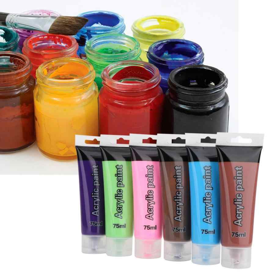 75 ml/botella 12 colores tubos pintura acrílica lote arte pintura dibujo pigmento conjunto