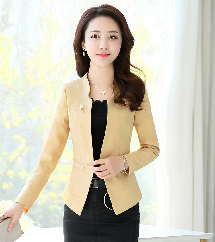 J58024 New Design High Quality Single Button Notched Office Lady Blazer Jacket