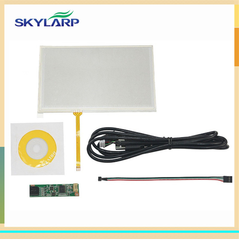skylarpu New 7 inch 4 Wire Resistive Touch Screen for AT070TN90 AT070TN94 AT070TN92 digitizer panel glass with USB Control Kit