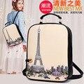 Mochilas de impresión bolso de las mujeres femeninas 2016 nueva Corea cartoon graffiti mochilas chica bolsa de la escuela mochila señoras de la torre eiffel