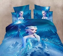 blue color Frozen Elsa bedding set Girl's Children's bedroom decor single twin size bed sheets quilt duvet covers 3pcs no filler