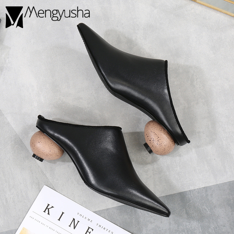 04e050c28ddf women strange heel pointed toe mules shoes woman black closed toe high heel  slippers 2018 new slip on shoes woman flip flops-in Slippers from Shoes on  ...
