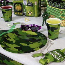 Omilut Camouflage Disposable Plates/Cups Theme Birthday Party Tableware Set Kids Decor