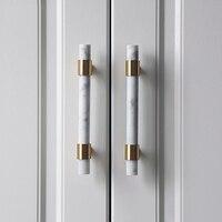 Натуральный камень + латунные ручки Европейский т бар ручки для открывания кухонный шкаф ручки мебельная фурнитура