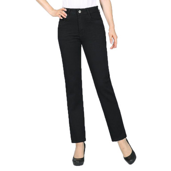 Women Black Jeans Pants Denim Straight Trousers Zipper Fly Pantalones Mujer Spring Autumn Plus Size Denim Trousers Jeans Pant zipper fly plus size cat s whisker design straight leg jeans