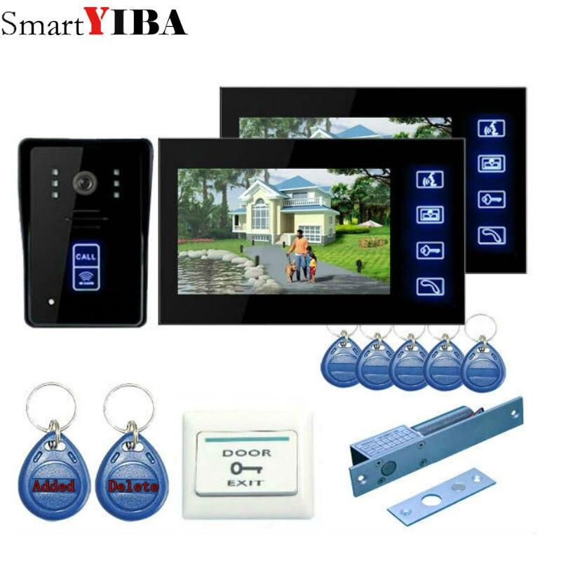 SmartYIBA Video Intercom Doorbell 7TFT LCD Wired Video Door Phone System for home Indoor Monitor Support Unlock