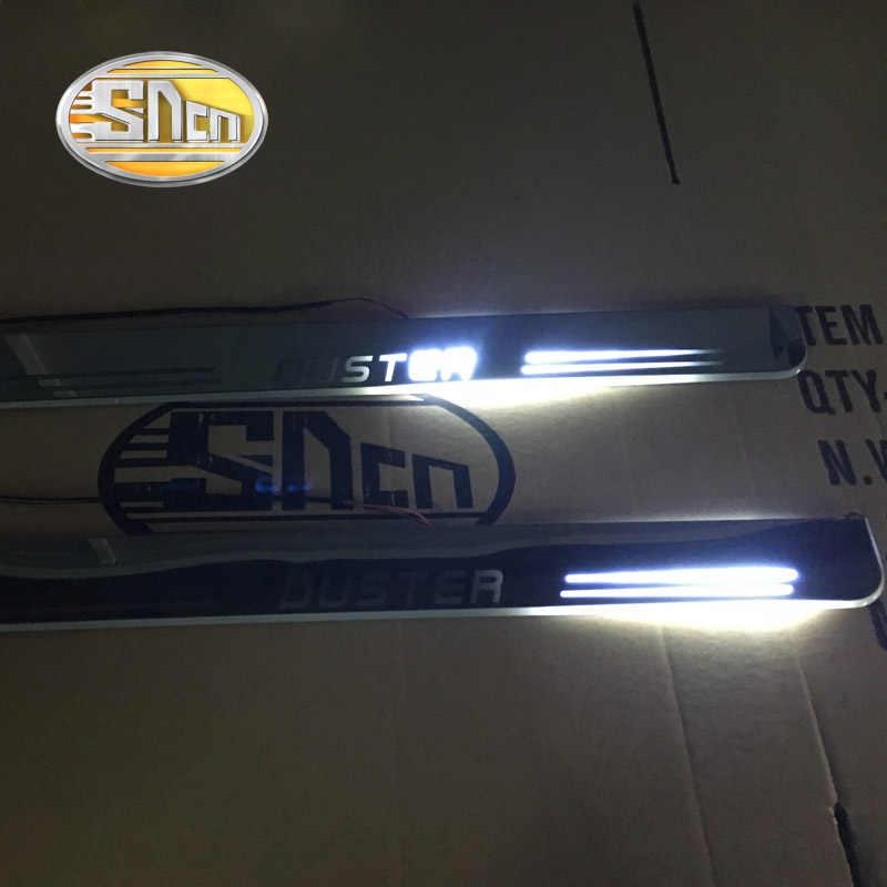 SNCN impermeable acrílico movimiento LED Bienvenido Pedal desgaste placa Pedal Umbral de puerta Luz de Camino para protector antipolvo para Renault 2010-2014