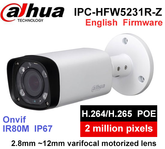 Dahua low-illuminance IPC-HFW5231R-Z 2.8mm ~12mm varifocal motorized lens 2MP IR80M IP Camera with POE multi-language Firmware цена