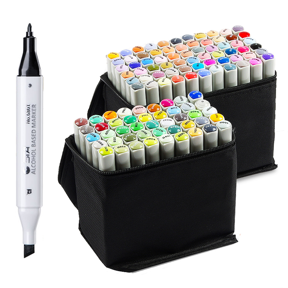 sta 30/40/60/80 graffiti twin markers alcohol manga pen as marcadores  finecolour coloring marker drawing fine liner free shipping alcohol oil two headed art mark pen six generations upgrade 36 60 80 color fine markers manga drawing finecolour