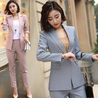 Autumn and winter casual long section composite fabric small jacket long sleeved fashion striped suit Slim thin women's suit
