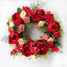 Big Red Peony Crepe Simulation Wreath Artificial Garland Home Wall Prop Front Door Window Decoration