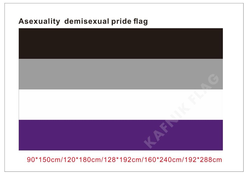 KAFNIK,90*150cm/128*192cm/192*288cm (2*3ft/3*5ft)<font><b>Asexuality</b></font> demisexual pride <font><b>flag</b></font> for Event/party/home Decorative <font><b>Flags</b></font> image