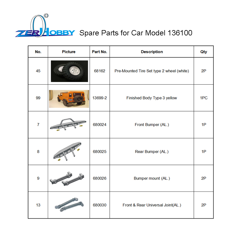RC CAR SPARE PARTS ACCESSORIES FOR HSP 1/10 ELECTRIC ROCK CRUISIER CAR MODEL 136100 (6 PARTS ITEM SET) 82910 ricambi x hsp 1 16 282072 alum body post hold himoto 1 16 scale models upgrade parts rc remote control car accessories