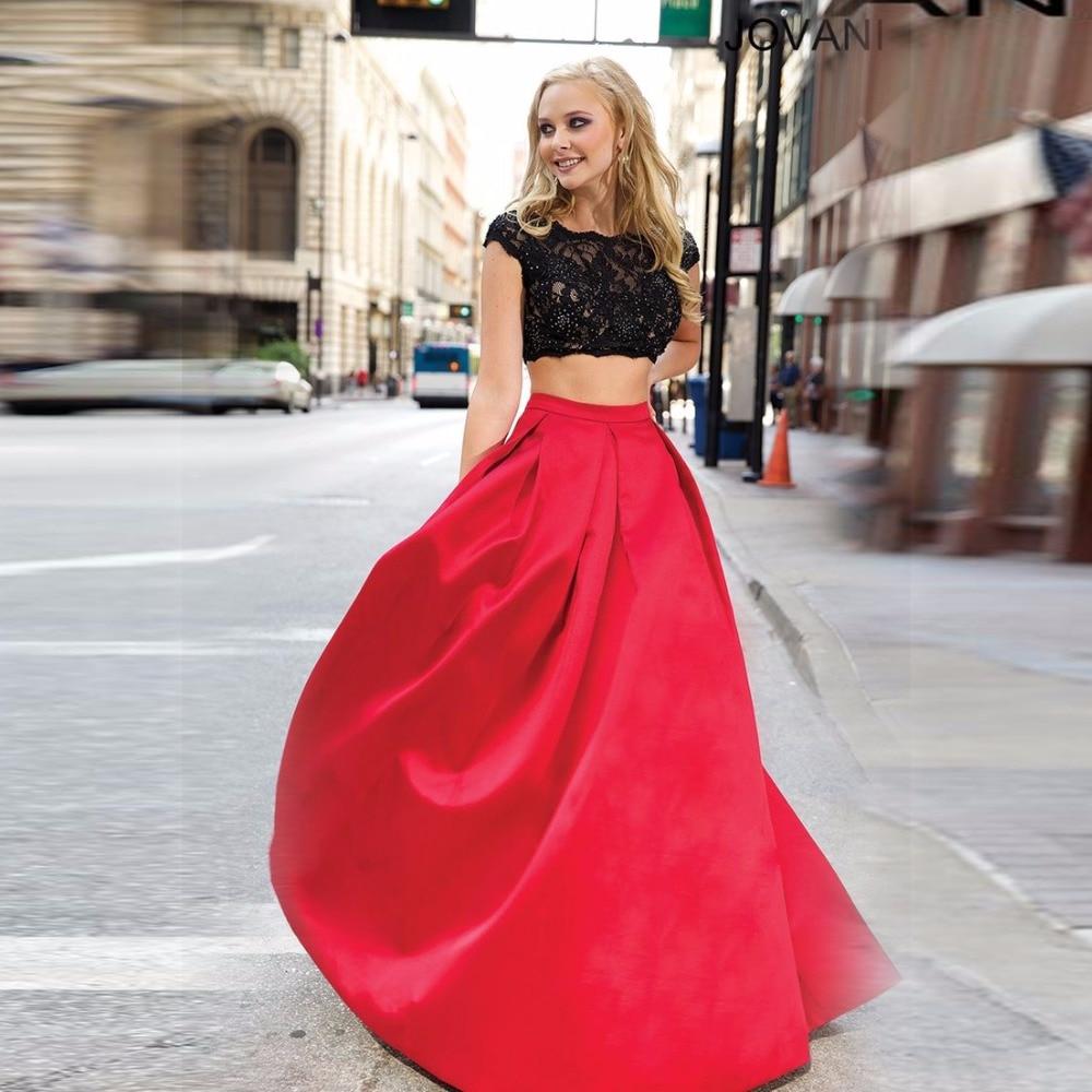 Simple Elegant Red Skirt A Line Floor Length Long Skirt ...