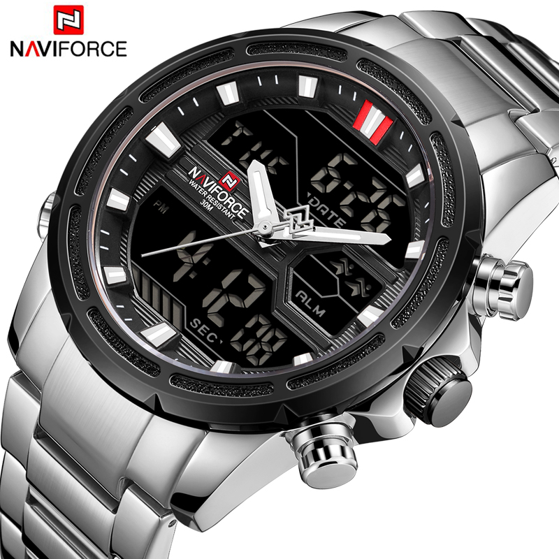 NAVIFORCE Top Brand Men Military Sport Watches Mens LED Analog Digital Watch Male Army Stainless Quartz Clock Relogio Masculino 2016 hot watches men geneva top brand luxury high quality military army silver clock stainless steel analog relogio masculino
