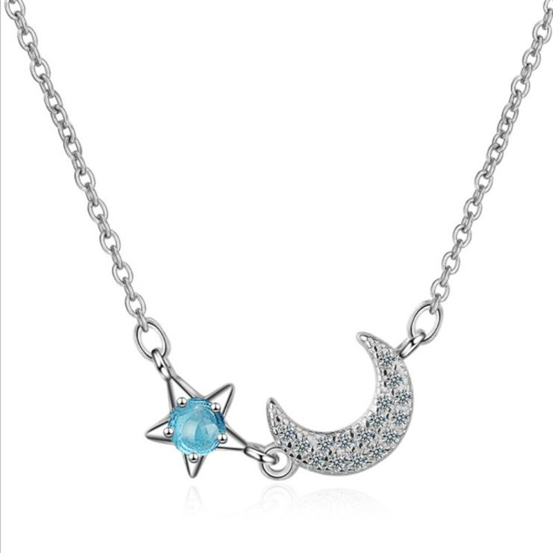 TJP Trendy Star Moon Design Crystal Pendants Necklace For Women Jewelry Fashion Silver 925 Clavicle Accessories Female